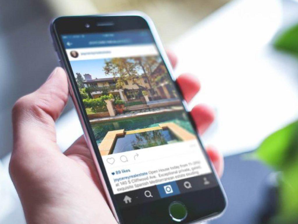 tela de celular com o instagram para corretor de imóveis